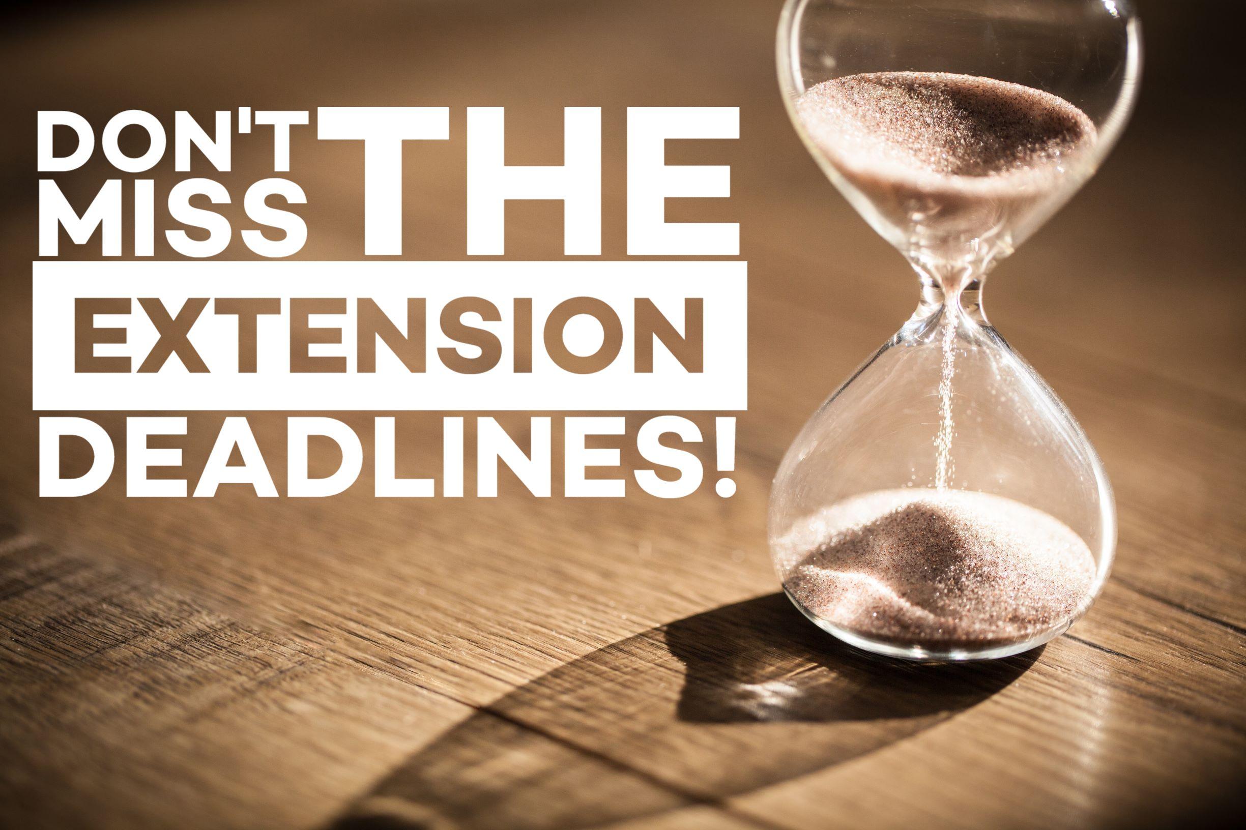 Fall Extension Deadlines